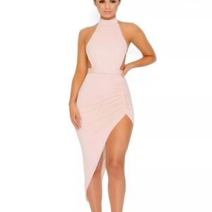 """Oh Polly """"Ruched and Ready"""" bare back halter dress"""